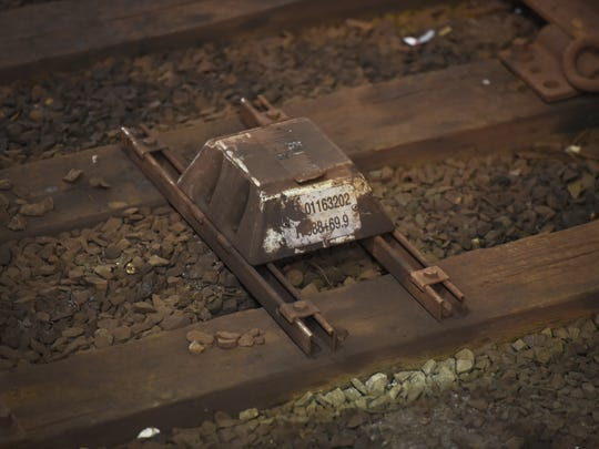 Close up photo of a transponder for PTC (Positive Train Control) on the rail track at Journal Square in Jersey City on November 29th, 2017.