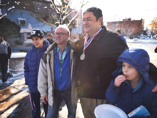 The winners of the latke-eating contest, Eitan Danzger,