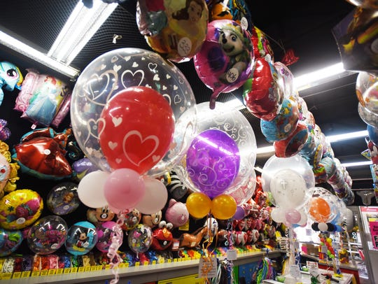 Various balloons are seen at The Party Box, which has