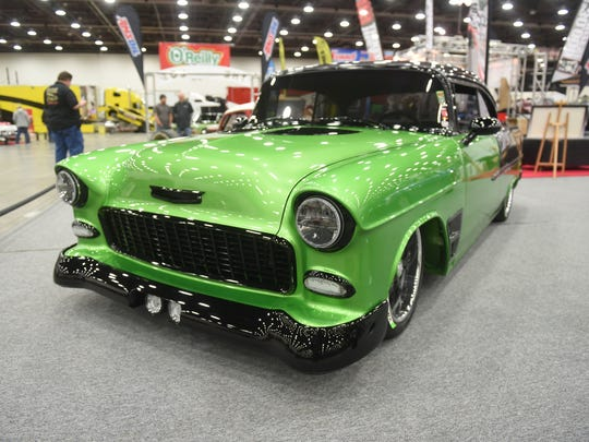 A 1955 Chevy Bel Air owned by Terry Cook, of Mt. Vernon, Mo., on display at Autorama at Cobo Center in Detroit on Friday, March 2, 2018.