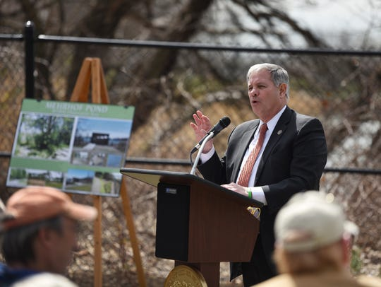James J. Tedesco, III, Bergen County Executive speaks during the Mehrhof Pond Wildlife Observation Area Ribbon Cutting Ceremony in Little Ferry on April 24, 2018.