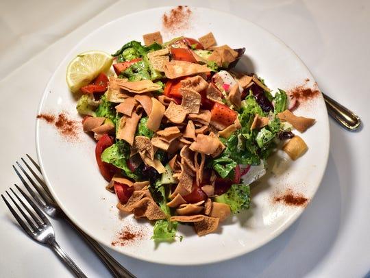 Fattoush salad at Yasmeen restaurant in Clifton.