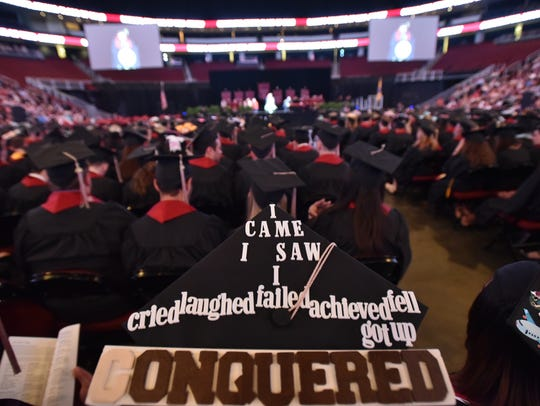 Sentiments on graduation caps at a Ramapo College commencement