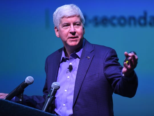 Governor Rick Snyder speaks at the Michigan Science