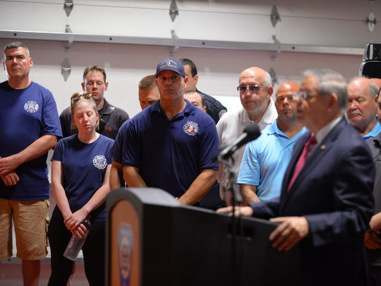 U.S. Senator Bob Menendez speaks joined by firefighters from across New Jersey to celebrate passage of the Firefighter Cancer Registry Act, during the news conference at Englewood Fire Dept. HQ in Englewood on 07/03/18.