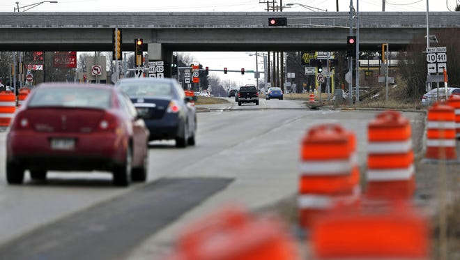 Work is scheduled to begin soon on a diverging diamond interchange at Oneida Street and State 441. Barrels are ready for placement in connection with the project. Ron Page/USA TODAY NETWORK-Wisconsin.