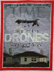 A cross-stitch re-creation of a 2013 Time magazine cover, as  done by Jennifer Drinkwater.