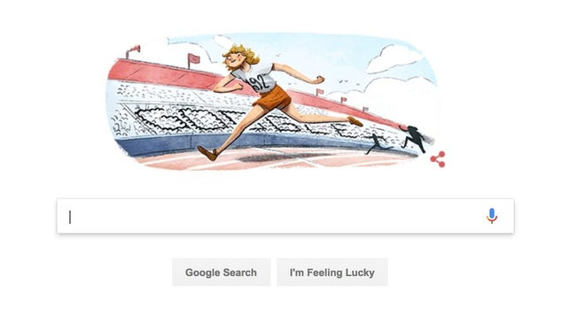 A Google Doodle in honor of Dutch Olympian Fanny Blankers-Koen, known as 'The Flying Housewife.'