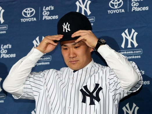 "Japanese star MasahiroTanaka was introduced to the New York media on Feb. 11. The New York Yankee right-handed pitcher says in English: ""I'm very happy to be a Yankee."""