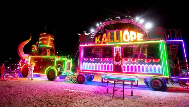 Kalliope, a bus with lasers and a whomping sound system, will be at Phoenix Public Market on Jan. 24, as part of the True DTPHX bash.