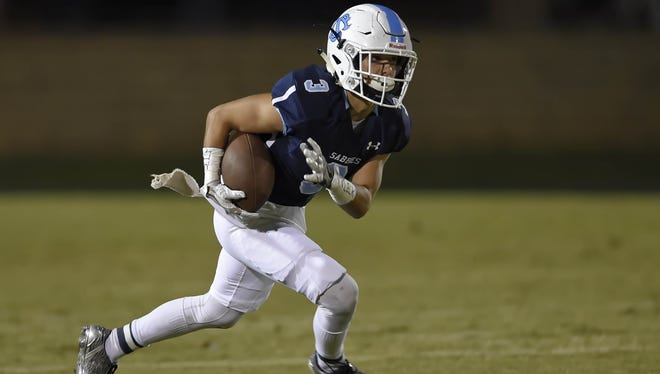 Senior Jacob Najmabadi leads Southside Christian with 34 receptions for 478 yards. Najmabadi and the 10-1 Sabres will play at Lee Central Friday in a Class AA second-round playoff game.