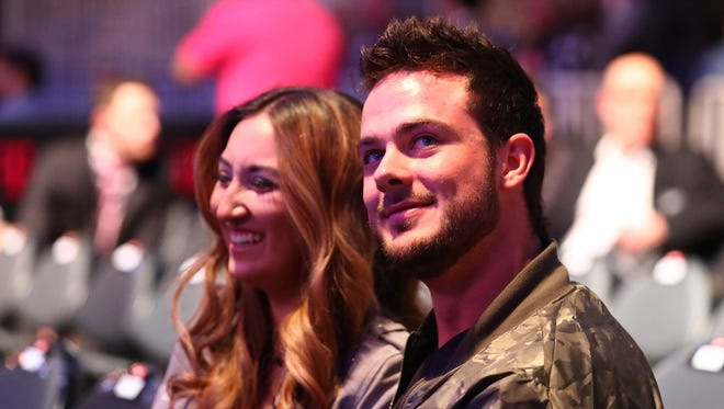 Kris Bryant in attendance with fiance Jessica Delp at T-Mobile Arena.