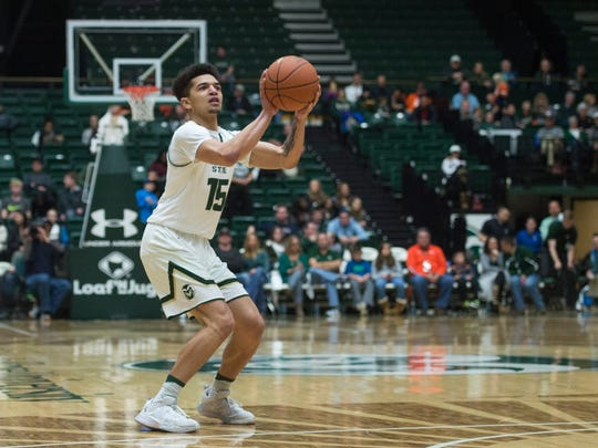 CSU guard Anthony Bonner shoots a wide-open 3-point shot during a Jan. 7 win over Air Force at Moby Arena.