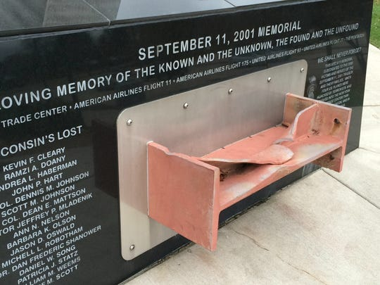 The names of airlines and flight numbers are incorrectly presented on the 9/11 memorial in downtown Green Bay.