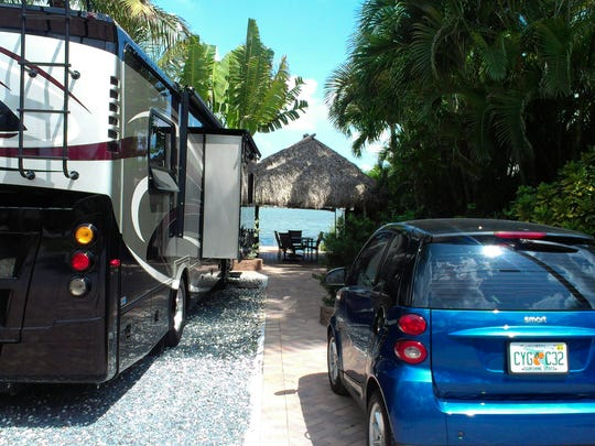 Bluewater Key RV Resort, located ten miles north of Key West,  takes glamping to a whole new level. The campsite boasts a full outdoor kitchen, a tiki hut, and a private dock to launch your boat, pool raft or yourself with snorkel gear into warm blue waters.
