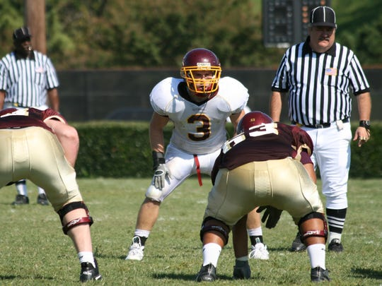 Matt Barnes (3), a former Salisbury University football player, is now the linebackers coach at the University of Maryland College Park.
