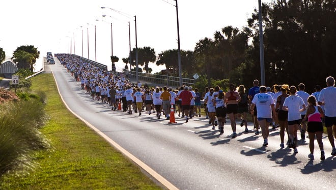 Running over the Melbourne Causeway is one of the allures of the Flamingo 5K. Next year, the run will move from downtown Melbourne.