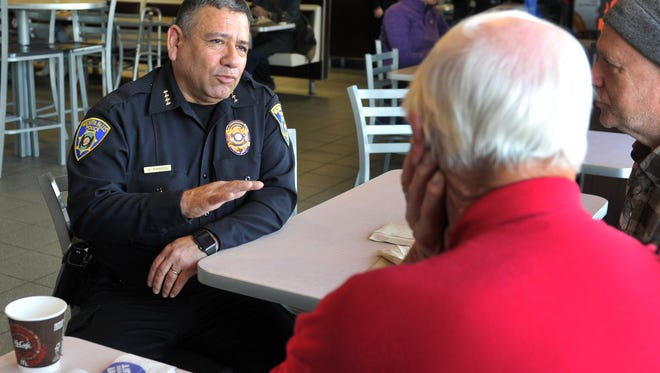 Wichita Falls Chief of Police Manuel Borrego sat down Wednesday morning and talked with people during the department's Coffee with a Cop held at the McDonalds on Kemp St. Borrego said it was a great opportunity to hear from the public about their concerns and that it was great just to be able to meet people. Police public information office Jeff Hughes said that the event seemed to go over well and that they plan on holding similar events in the future.