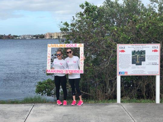 Mary Grace and Melanie Coppola near the location of