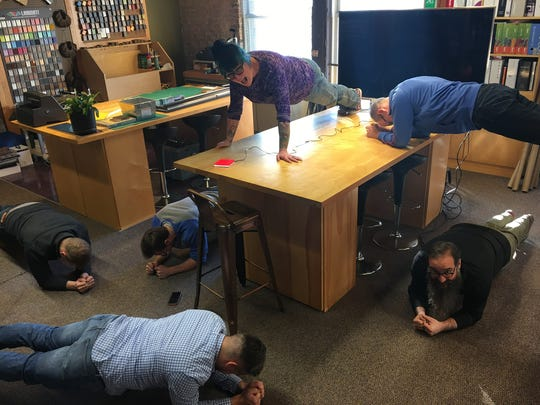 """The first annual """"Planksgiving"""" was held at Interior Systems Inc in 2016. Employees broke up the workday by doing planks every morning."""
