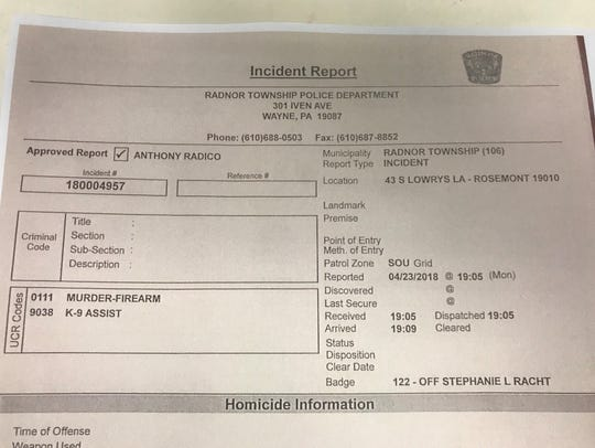 Radnor Township, Pennsylvania, Police incident report