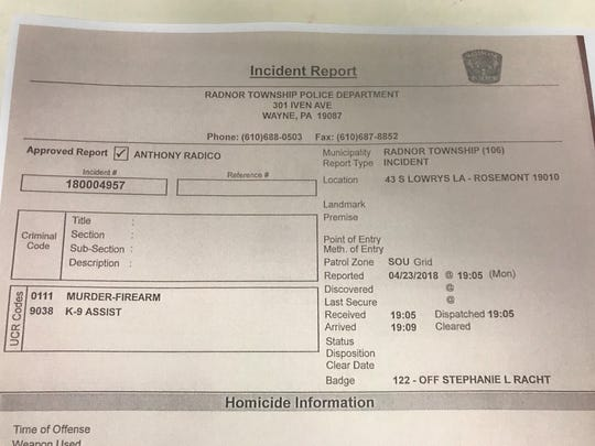 Radnor Township, Pennsylvania, Police incident report indicates officers spoke to a neighbor of Jennair Gerardot.