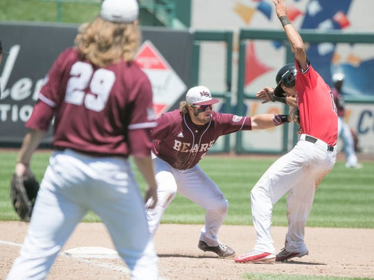 Missouri State third baseman Jake Burger tags Illinois