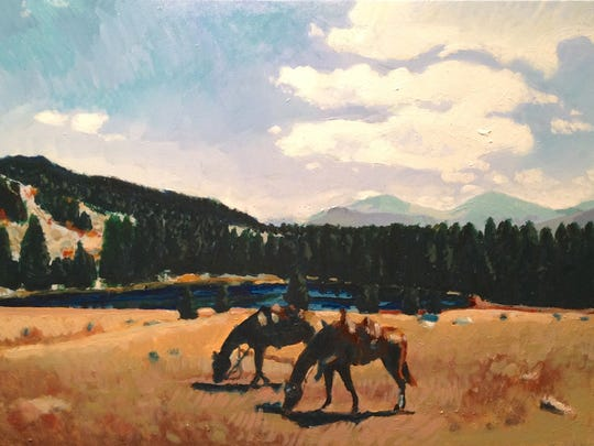 "Kathy Burns Rittwage will be taking 20 or so of her recent oil landscapes with her to her first show the weekend of April 9 and 10 in Paso Robles, California. This one is entitled ""Wyoming."""