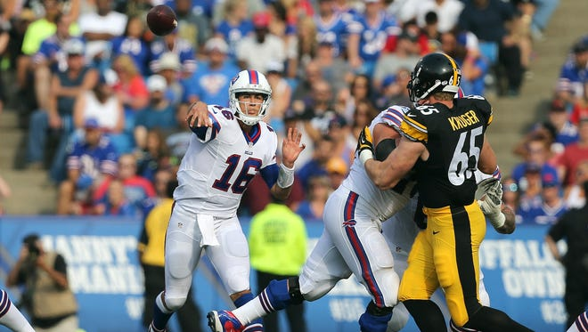 Bills quarterback Matt Cassel steps up in the pocket to deliver a pass.