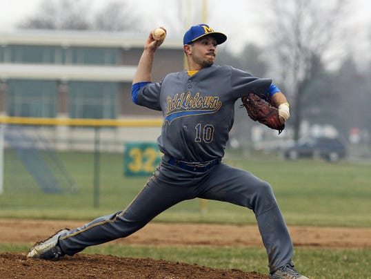 Middletown's Nathan Ocker pitches during his 2-0 win over Palmyra on Friday at Palmyra High School.