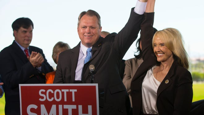 Arizona Gov. Jan Brewer endorses Mesa Mayor Scott Smith for Governor during a press conference at Cubs Park in Mesa on Aug. 7, 2014.