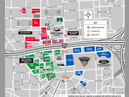 Map of parking lots near Little Caesars Arena.
