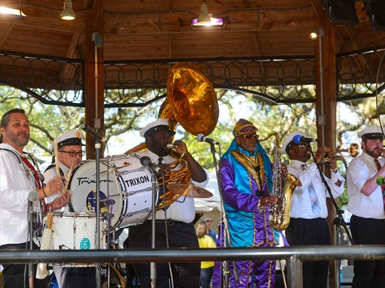 The Village Brass Band perform during a past Pensacola JazzFest in Seville Square. This year's JazzFest is set for April 6 and 7.