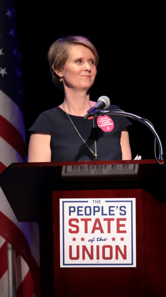 Cynthia Nixon extolled her New York roots in a video