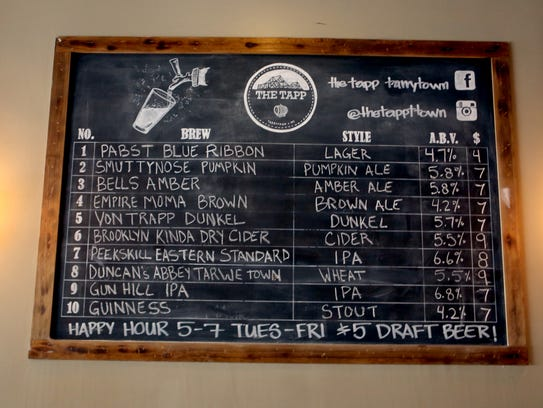 Beers on Tapp listed on a blackboard at The Tapp in