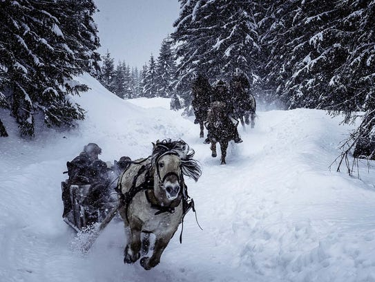 Sleigh and horseback pursuits replace the usual action