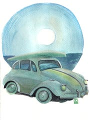 Watercolor of a VW Beetle with a surfboard by Jeslyn Cantrell.