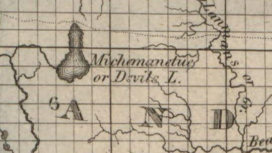 """This 1826 map of northwestern Lenawee County, found in the Library of Congress online archives, shows """"Michemanetue,"""" the Native American name for Devils Lake, to be one large lake, encompassing what is Round Lake today. Many period maps surveyed and drawn by others all show the same. Were Devils and Round lakes one large lake at one time?"""