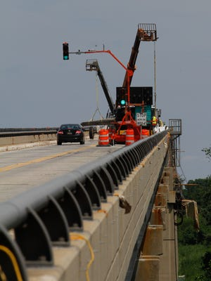 Only one lane on the Reedy Point Bridge is open to traffic due to construction.