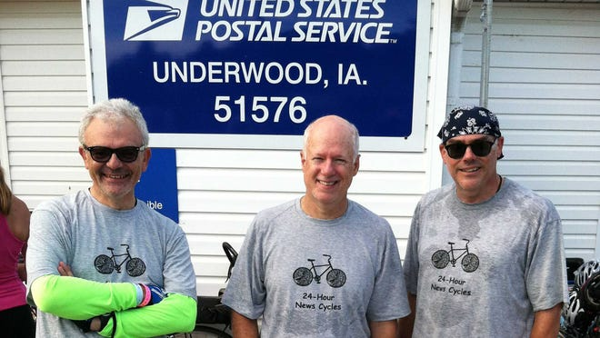 "From left are Don Gonyea, Brian Naylor and Scott Horsley, the inaugural ""No Pie Refused"" team from National Public Radio. They were photographed in Underwood on the first day of RAGBRAI 2013."