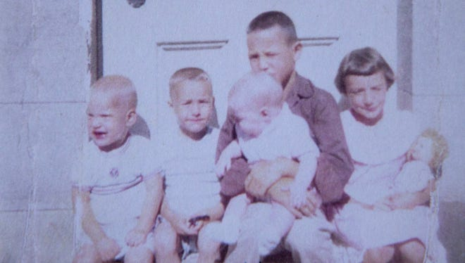 From left, Jim, Tom, Mary Jo, David and Cheryl. The five siblings were abandoned by their mother in 1958 and taken to an orphanage to await new homes. Nearly four decades later, they were reunited.