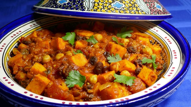 Vegetable Tagine cooks quickly but still produces the fragrant steam produced by simmering veggies and spices.