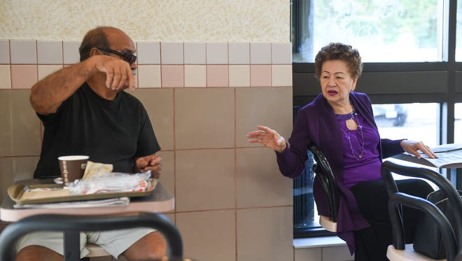 Carlos Villagomez converses with Annie Sablan in this file photo. Elected officials need to figure out the best way to ensure Public Health is able to meet its mandate to provide needed services to Guam's elderly.