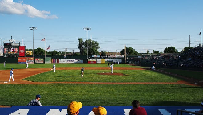 Fans look on before a game between the Canaries and the St. Paul Saints Wednesday, May 25, 2016, at Sioux Falls Stadium in Sioux Falls.