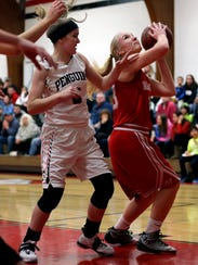 Katelyn Schmidt (right) was named the Marawood-South player of the year after leading Marathon to the title.