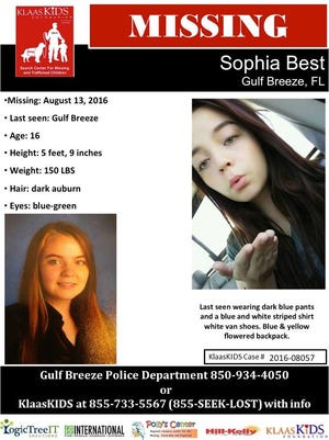 Sophia Best, 16, was last seen Aug. 13 in Gulf Breeze. Anyone with information on her location is asked to contact the Gulf Breeze Police Department at 934-4050 or the KlassKIDS Foundation at 855-733-5567.