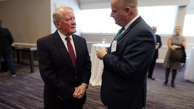 Congressman Leonard Lance, l, speaks with Morris County Sheriff James Gannon at the 96th Annual Morris County Chamber of Commerce Luncheon Annual Meeting at the Hanover Marriott. February 10, 2017, Hanover, NJ.
