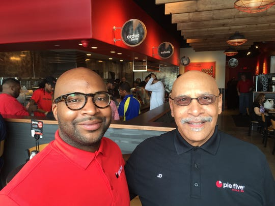 Pie Five Pizza Co. franchise holders John Draper II (left) and his father, J.D. Draper, plan to open 155 Pie Five shops in Michigan, Wisconsin and Ohio over the next several years.