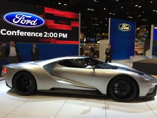 The Ford GT super car on display at the 2015 Chicago