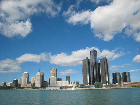 Detroit riverfront and skyline
